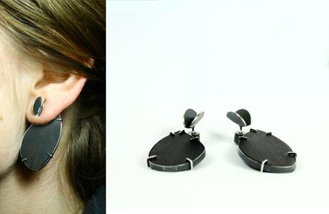2in1 earrings in ebony and blackened silver 2015
